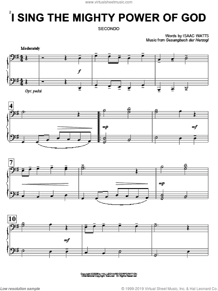 I Sing The Mighty Power Of God sheet music for piano four hands by Isaac Watts and Gesangbuch der Herzogl, intermediate skill level