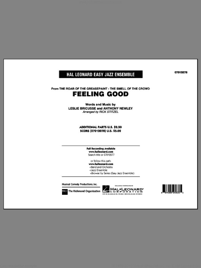 Feeling Good (COMPLETE) sheet music for jazz band by Michael Buble and Rick Stitzel, intermediate skill level