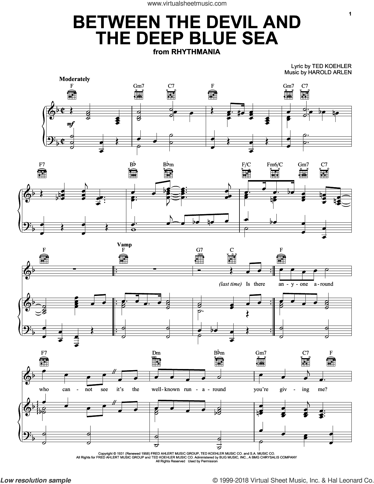 Between The Devil And The Deep Blue Sea sheet music for voice, piano or guitar by Louis Armstrong, Andre Previn, Frank Sinatra, Mel Torme, Harold Arlen and Ted Koehler, intermediate skill level