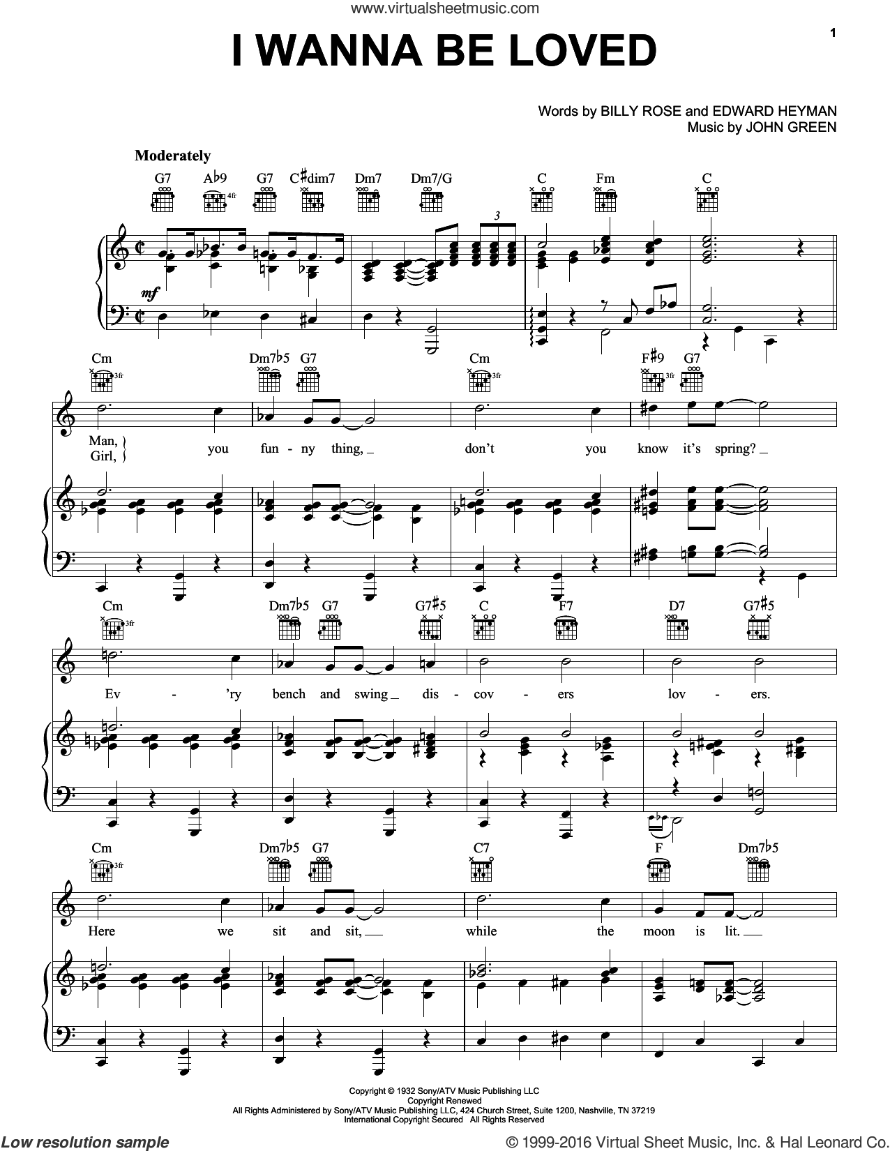 I Wanna Be Loved sheet music for voice, piano or guitar by Dinah Washington, The Andrews Sisters, Billy Rose, Edward Heyman and Johnny Green, intermediate skill level