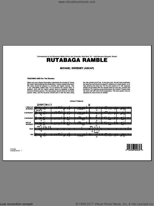 Rutabaga Ramble (COMPLETE) sheet music for jazz band by Michael Sweeney