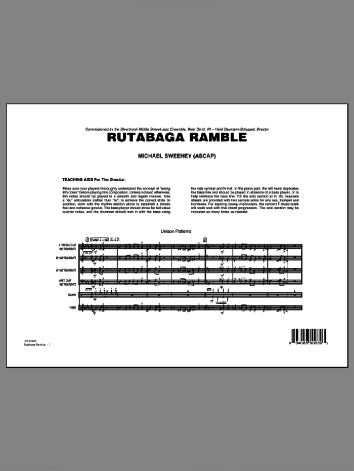 Rutabaga Ramble (COMPLETE) sheet music for jazz band by Michael Sweeney, intermediate skill level