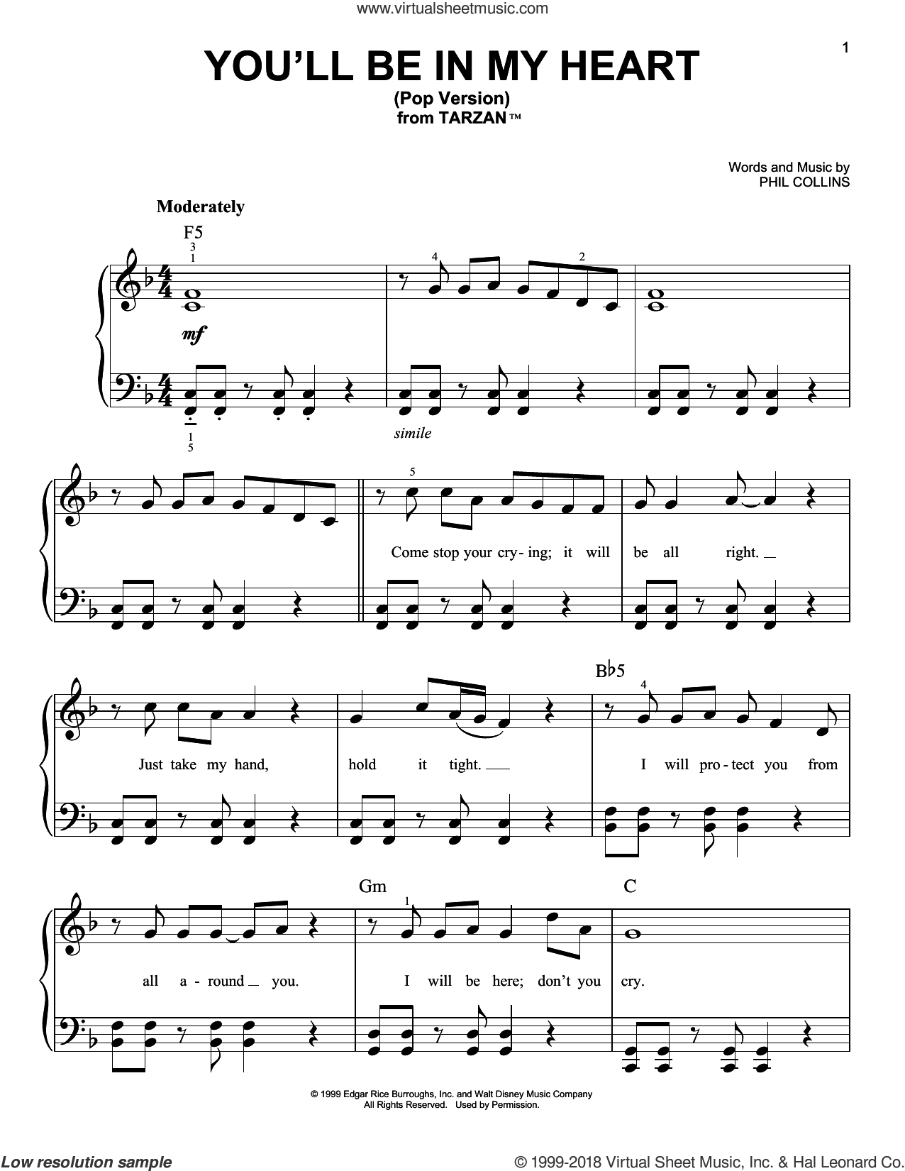 You'll Be In My Heart (Pop Version) sheet music for piano solo by Phil Collins, easy skill level
