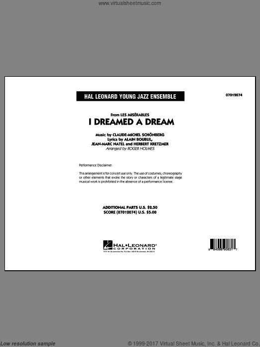 I Dreamed a Dream (from Les Miserables) (COMPLETE) sheet music for jazz band by Roger Holmes