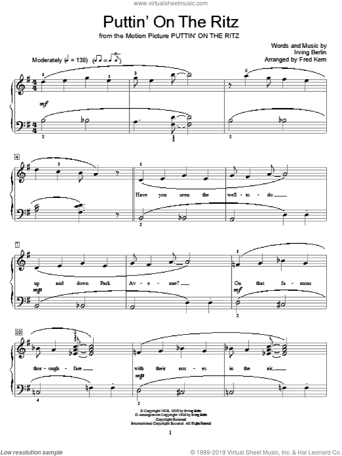 Puttin' On The Ritz sheet music for piano solo (elementary) by Irving Berlin, Fred Kern and Miscellaneous, beginner piano (elementary)