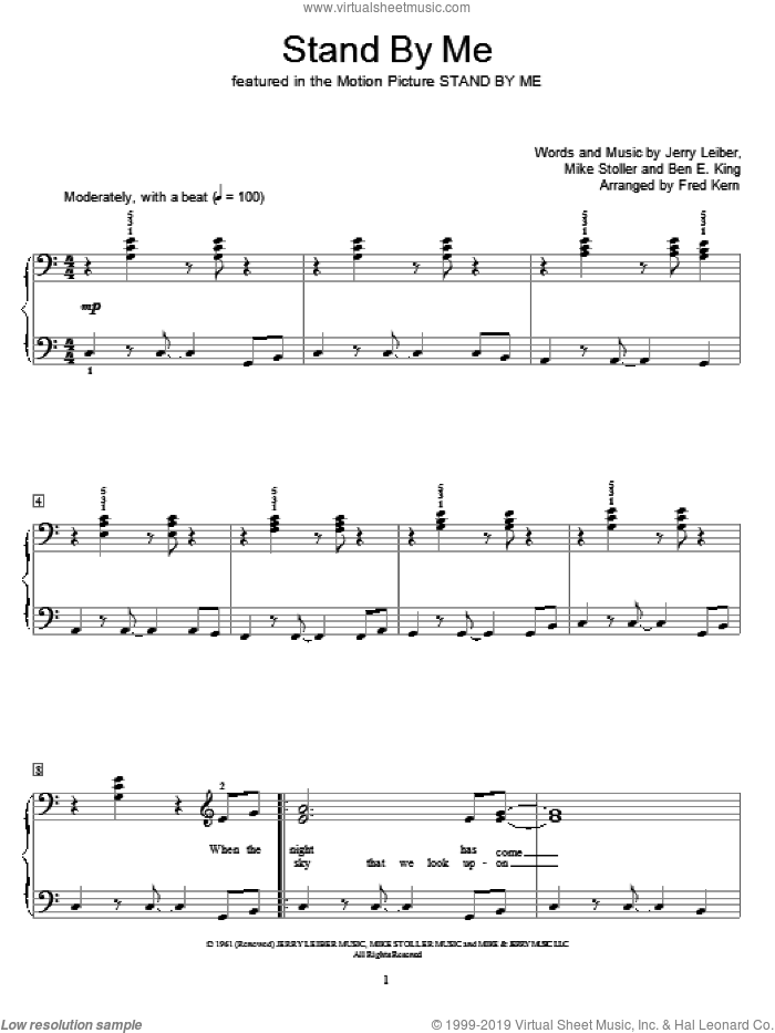 Stand By Me sheet music for piano solo (elementary) by Ben E. King, Fred Kern, Miscellaneous, Jerry Leiber and Mike Stoller, beginner piano (elementary)