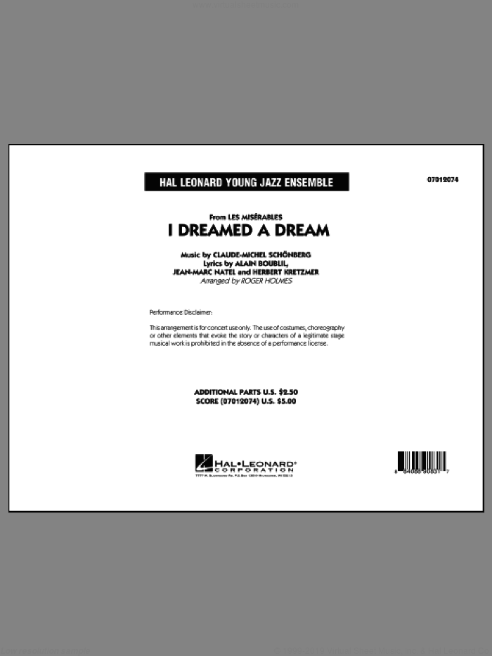 I Dreamed a Dream (from Les Miserables) (COMPLETE) sheet music for jazz band by Alain Boublil, Claude-Michel Schonberg and Roger Holmes, intermediate skill level