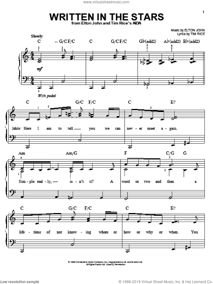 Written In The Stars sheet music for piano solo by Tim Rice and Elton John, easy skill level