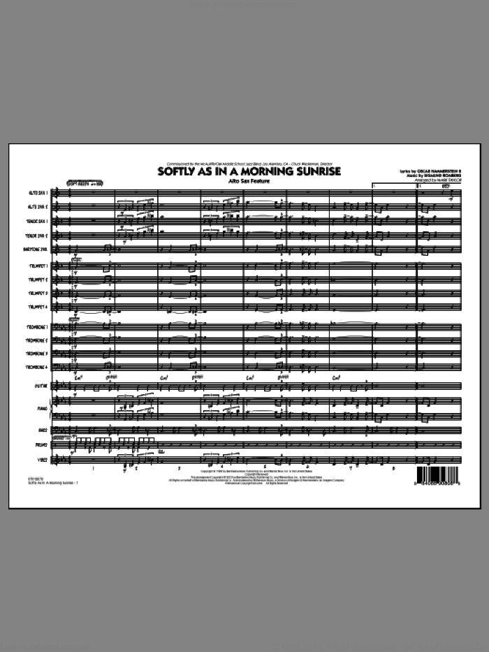 Softly as in a Morning Sunrise (COMPLETE) sheet music for jazz band by Mark Taylor, intermediate skill level