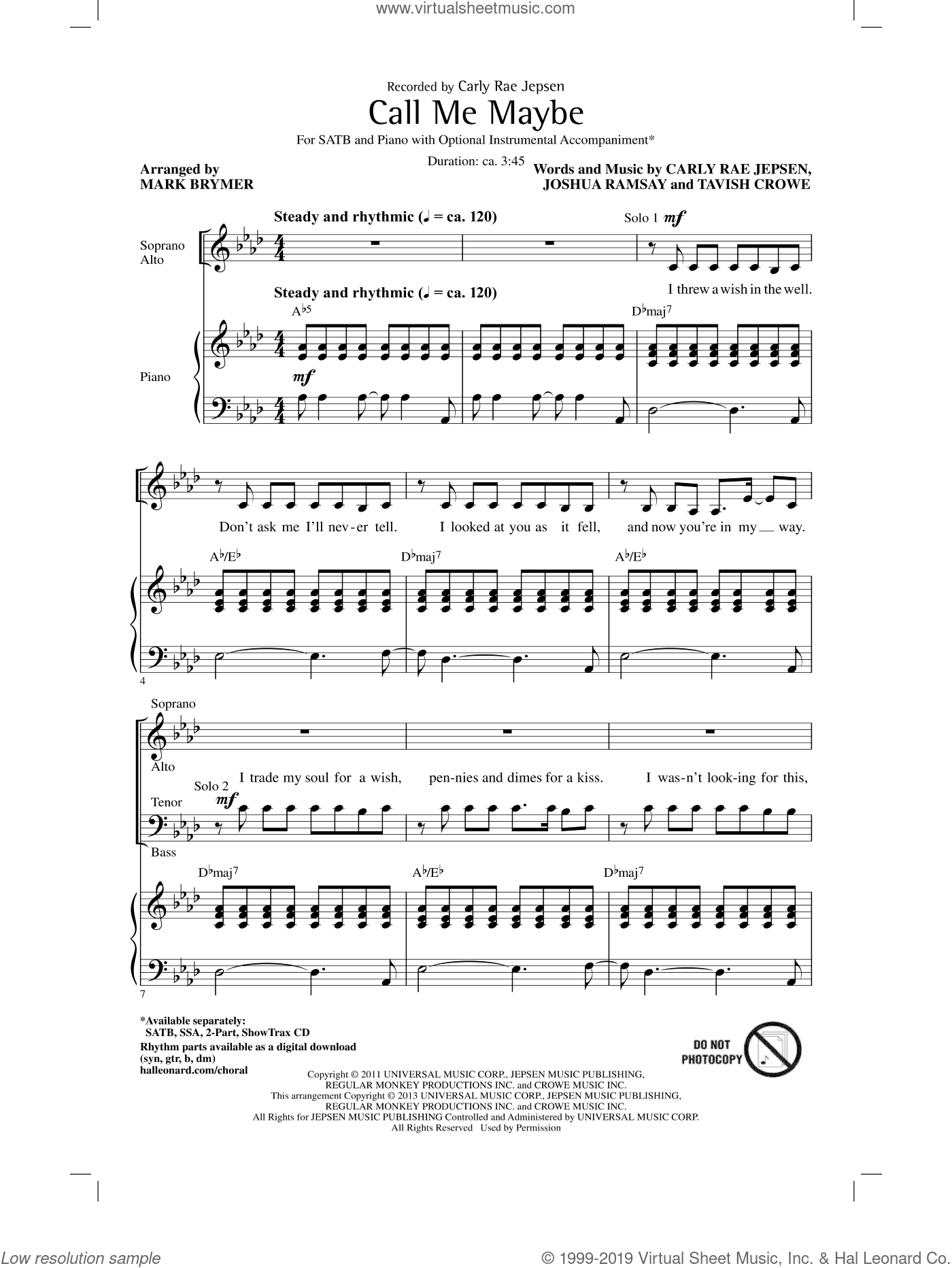 Call Me Maybe sheet music for choir and piano (SATB) by Mark Brymer and Carly Rae Jepsen. Score Image Preview.