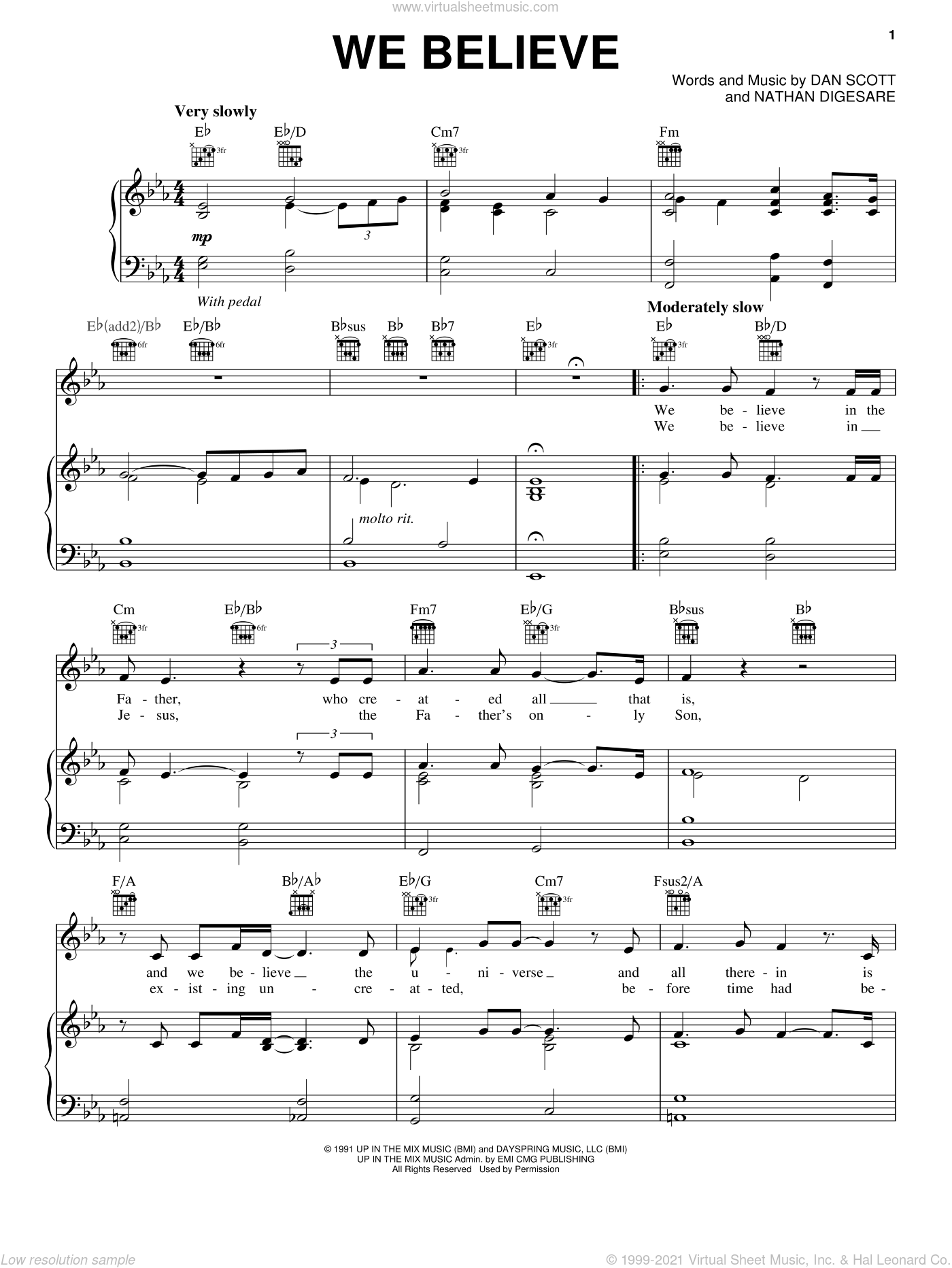 We Believe sheet music for voice, piano or guitar by Steve Green and Dan Scott, intermediate skill level