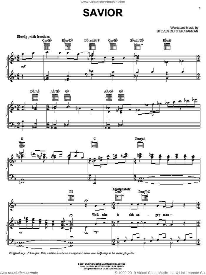 Savior sheet music for voice, piano or guitar by Steven Curtis Chapman, intermediate skill level