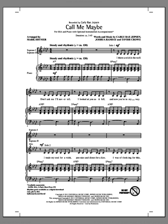 Call Me Maybe sheet music for choir and piano (SSA) by Mark Brymer and Carly Rae Jepsen. Score Image Preview.
