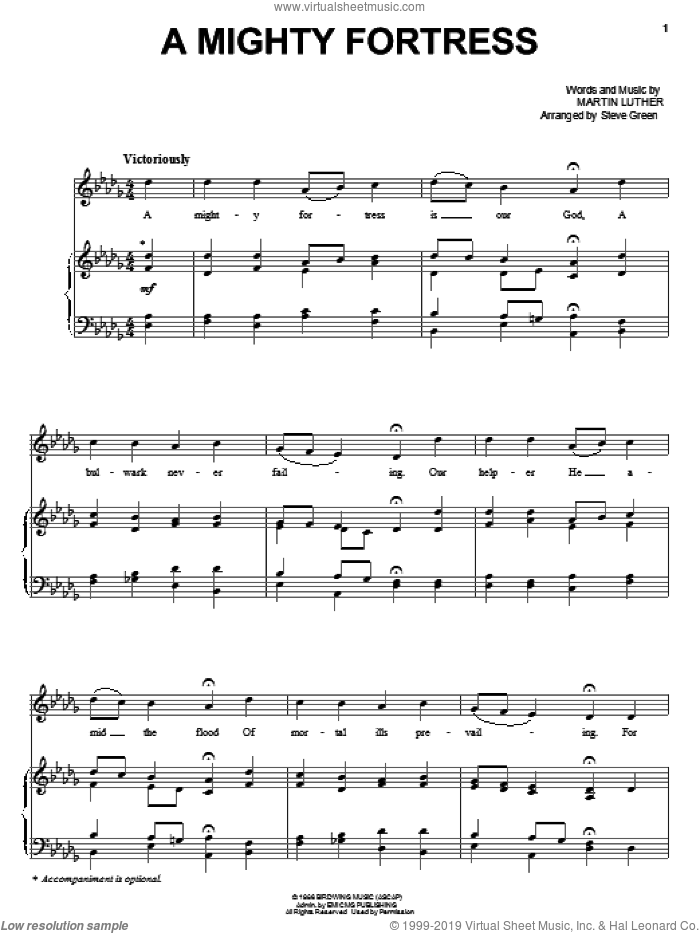 A Mighty Fortress sheet music for voice, piano or guitar by Steve Green and Martin Luther, intermediate. Score Image Preview.