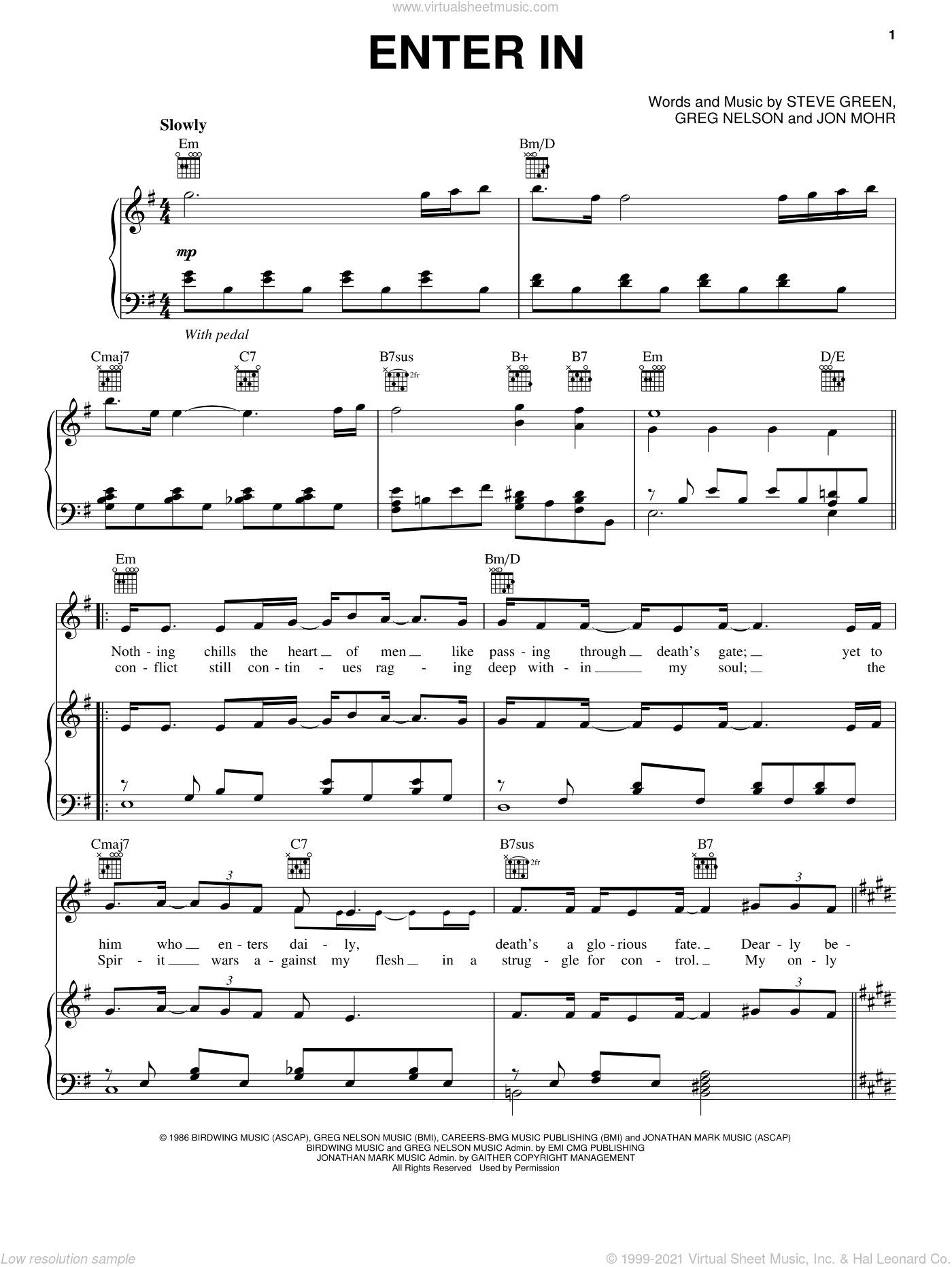 Enter In sheet music for voice, piano or guitar by Jon Mohr, Greg Nelson and Steve Green. Score Image Preview.