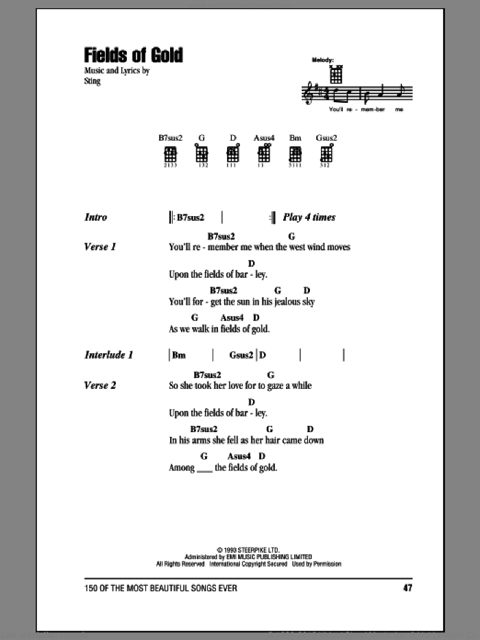 Fields Of Gold sheet music for ukulele (chords) by Sting