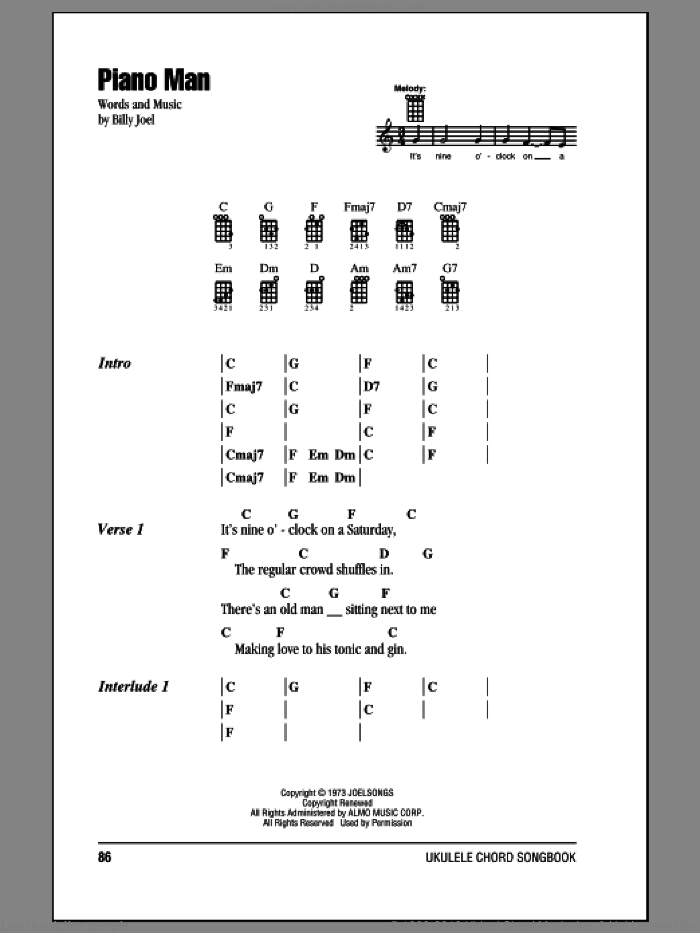 Piano Man sheet music for ukulele (chords) by Billy Joel. Score Image Preview.