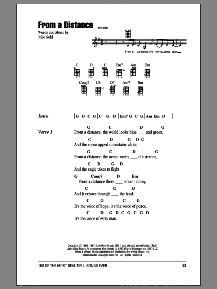 From A Distance sheet music for ukulele (chords) by Bette Midler and Julie Gold, intermediate skill level