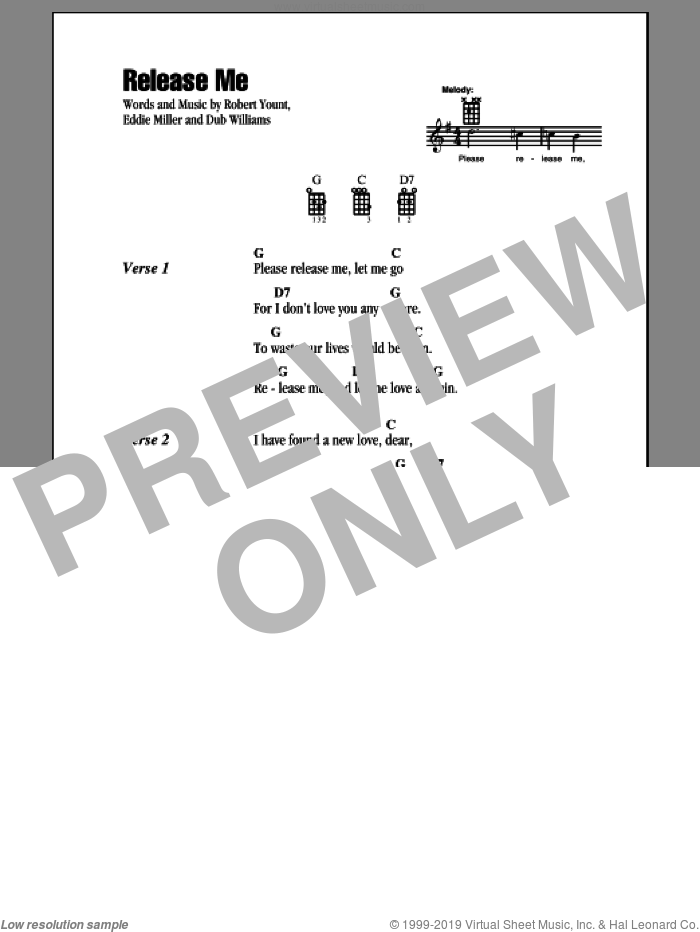 Release Me sheet music for ukulele (chords) by Robert Yount