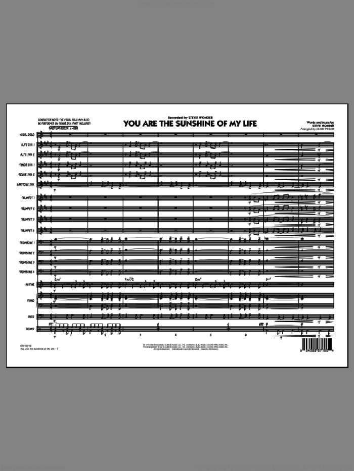 You Are the Sunshine of My Life (Key: C) (COMPLETE) sheet music for jazz band by Stevie Wonder and Mark Taylor, intermediate skill level