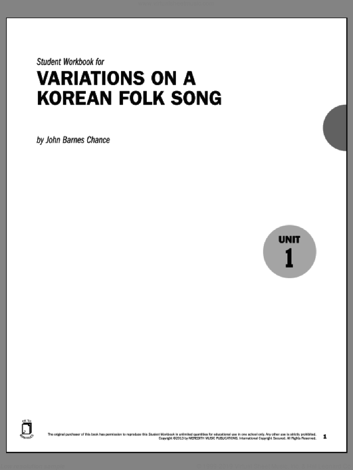 Guides to Band Masterworks, Vol. 3 - Student Workbook - Variations on a Korean Folk Song sheet music for band by John Barnes Chance. Score Image Preview.