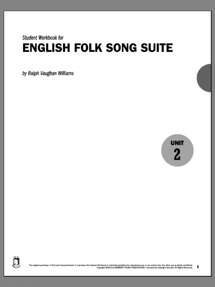 Guides to Band Masterworks, Vol. 3 - Student Workbook - English Folk Song Suite sheet music for band by Ralph Vaughan Williams. Score Image Preview.