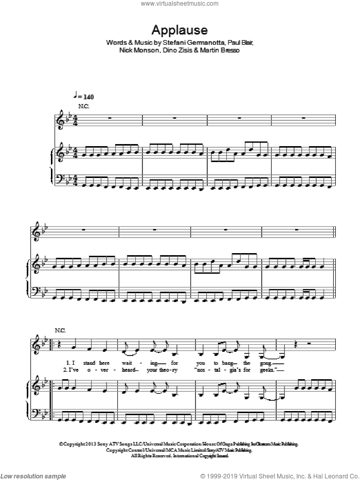 Applause sheet music for voice, piano or guitar by Paul Blair