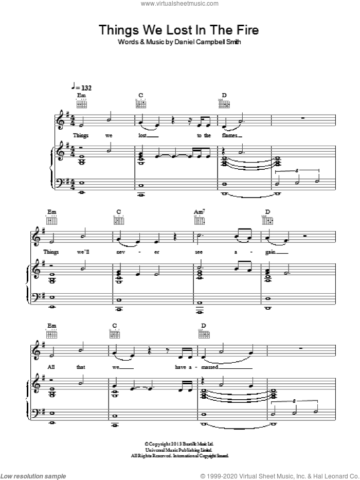Things We Lost In The Fire sheet music for voice, piano or guitar by Daniel Campbell Smith