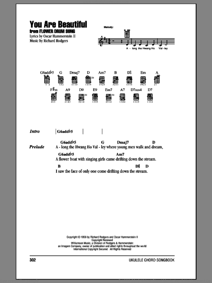 You Are Beautiful sheet music for ukulele (chords) by Richard Rodgers and Oscar II Hammerstein, intermediate ukulele (chords). Score Image Preview.