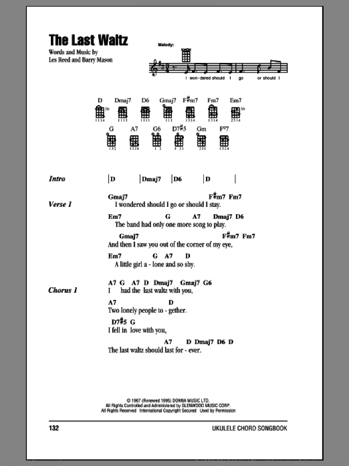 Humperdinck The Last Waltz Sheet Music For Ukulele Chords