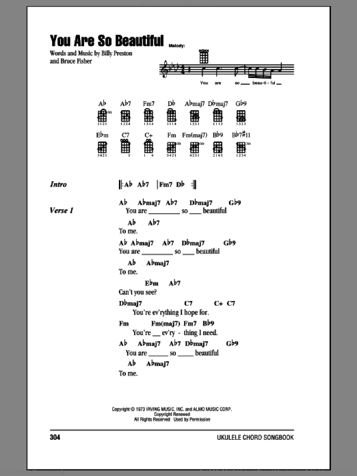 You Are So Beautiful sheet music for ukulele (chords) by Joe Cocker, Billy Preston and Bruce Fisher, intermediate skill level