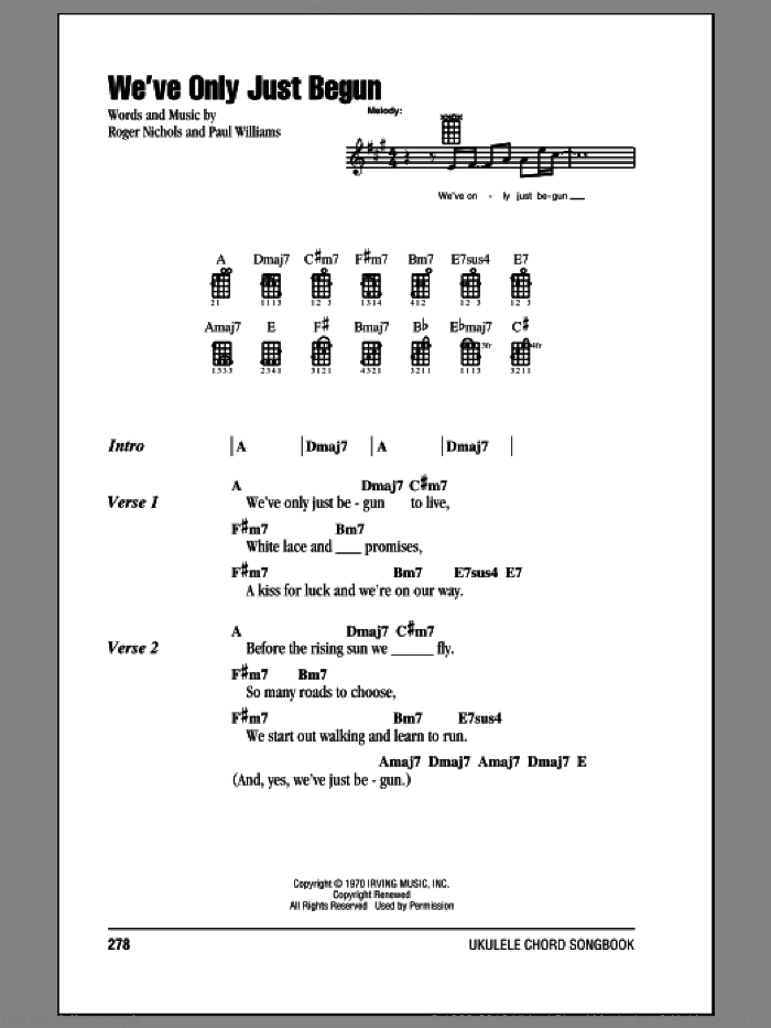 We've Only Just Begun sheet music for ukulele (chords) by Carpenters and Paul Williams. Score Image Preview.