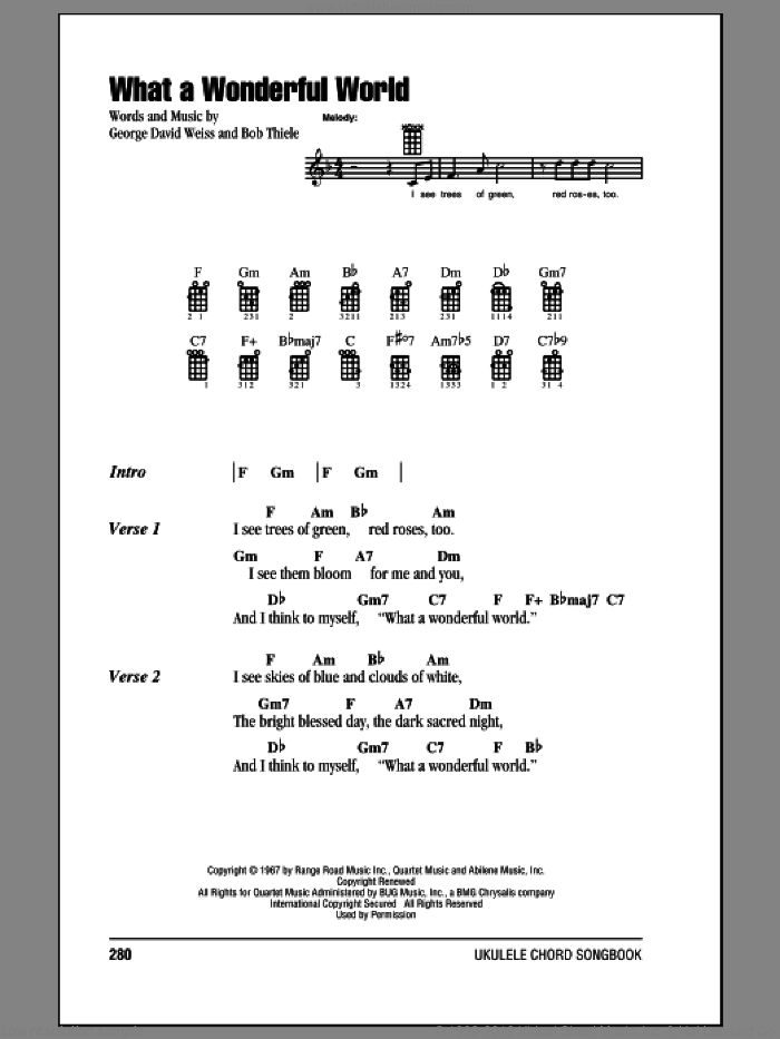 What A Wonderful World sheet music for ukulele (chords) by Louis Armstrong