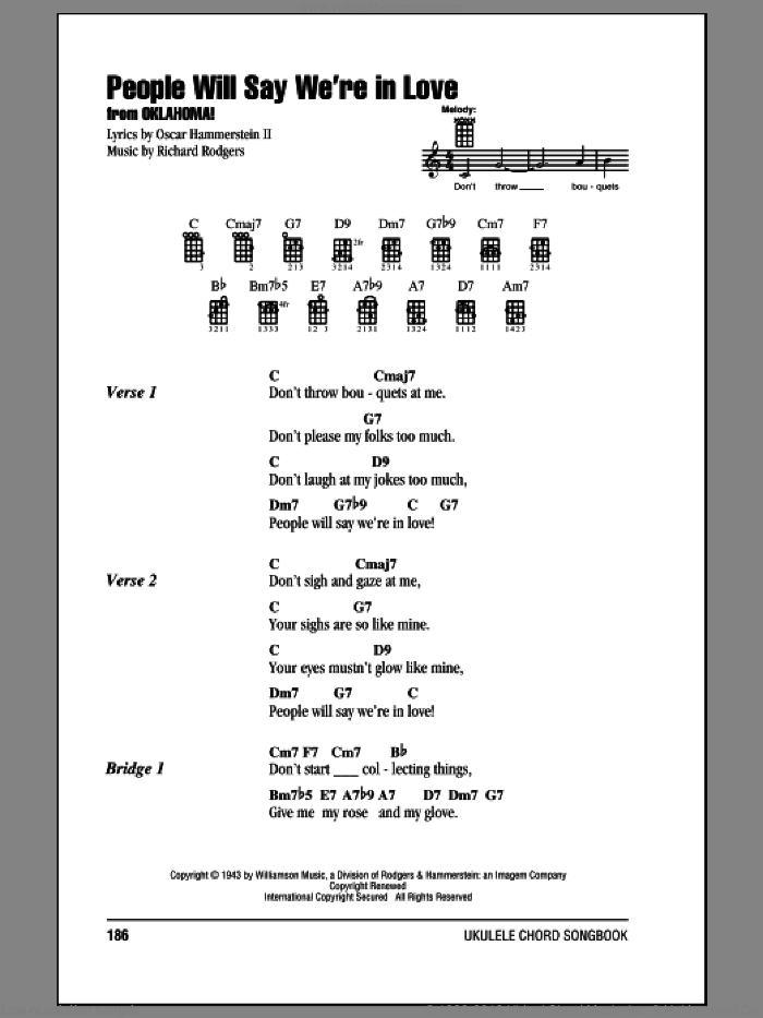 People Will Say We're In Love sheet music for ukulele (chords) by Oscar II Hammerstein and Richard Rodgers. Score Image Preview.