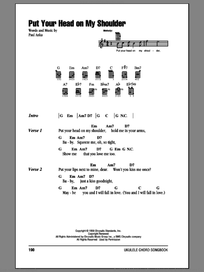 Put Your Head On My Shoulder sheet music for ukulele (chords) by Paul Anka, intermediate skill level