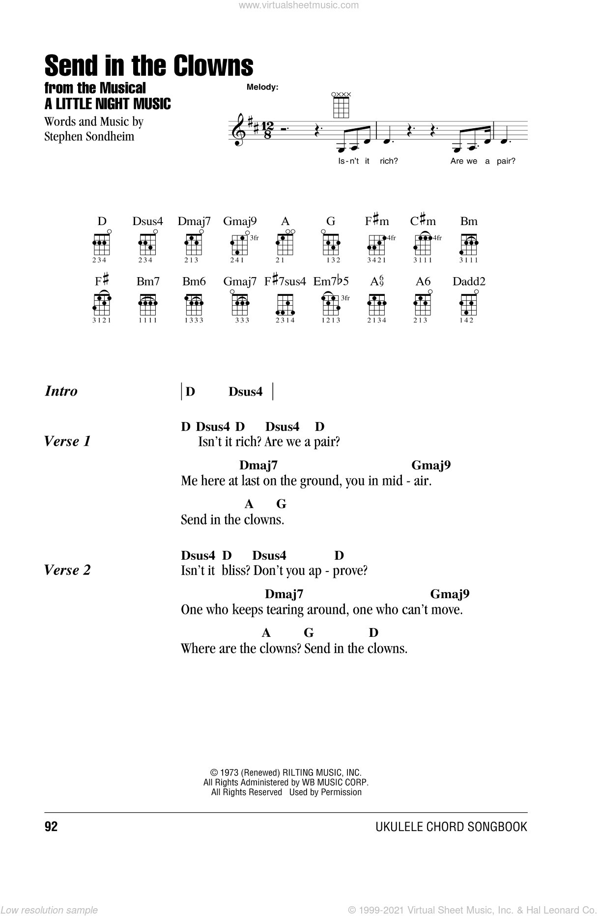 Send In The Clowns sheet music for ukulele (chords) by Stephen Sondheim, intermediate skill level