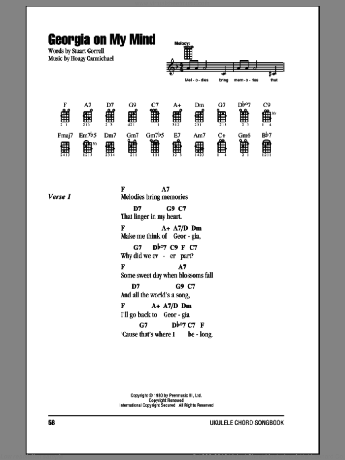 Georgia On My Mind sheet music for ukulele (chords) by Ray Charles and Willie Nelson. Score Image Preview.