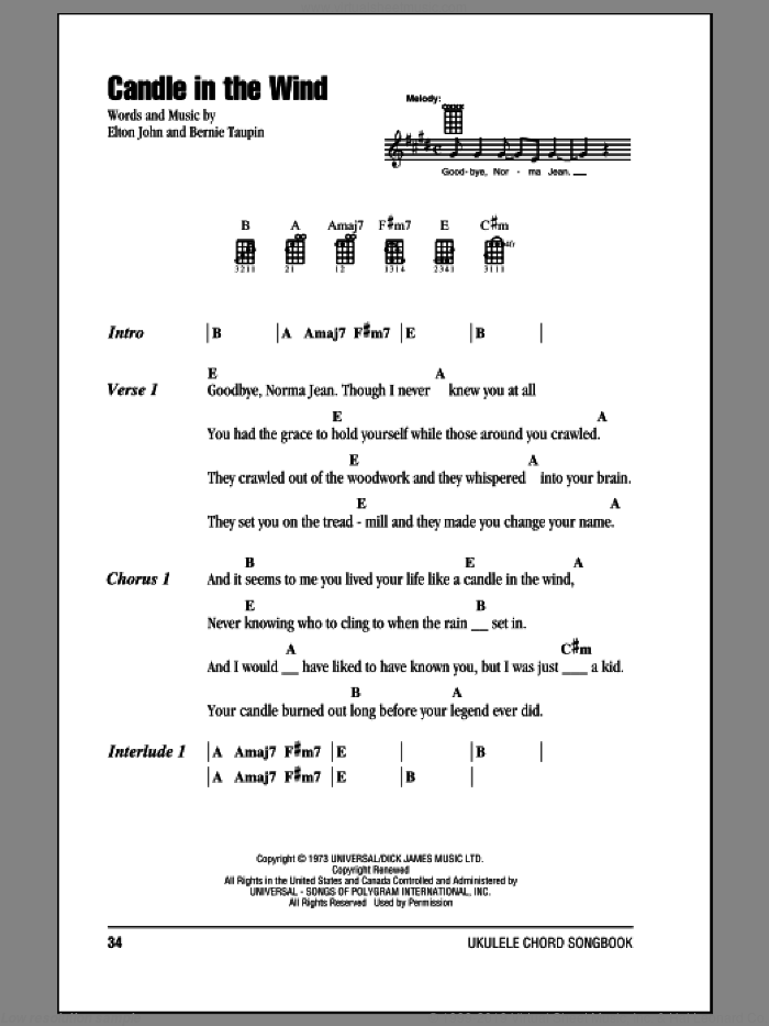 Candle In The Wind sheet music for ukulele (chords) by Elton John, intermediate. Score Image Preview.