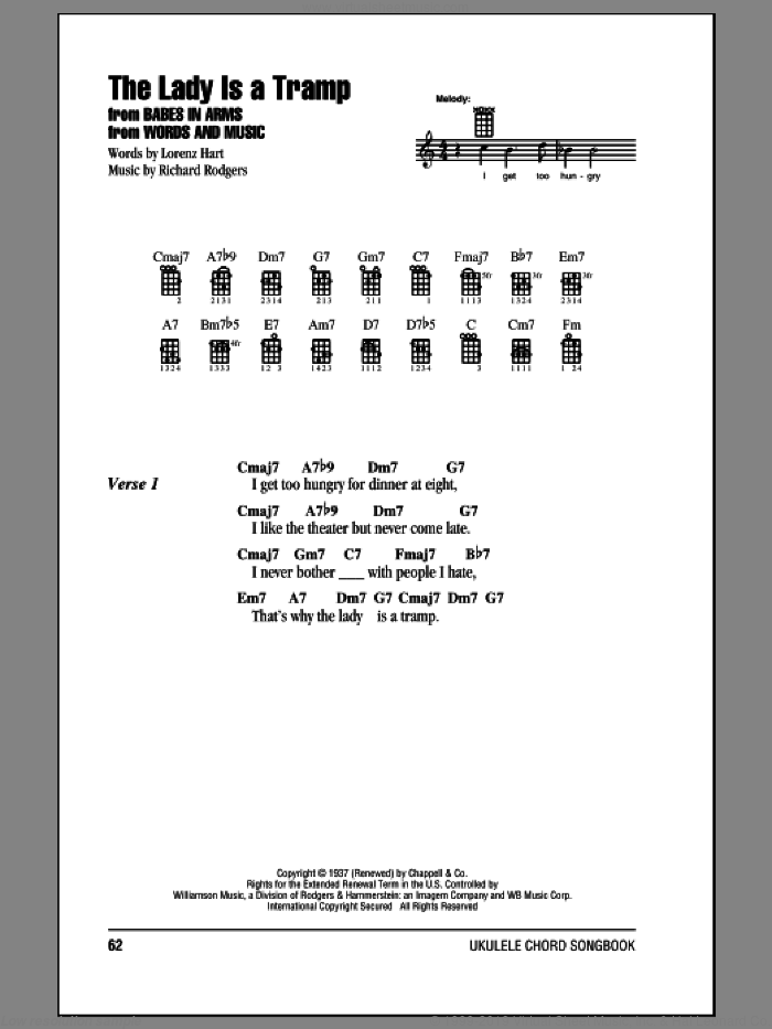 Hart The Lady Is A Tramp Sheet Music For Ukulele Chords Pdf