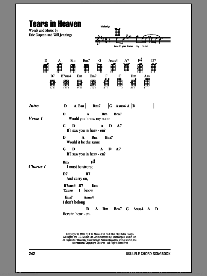 Tears In Heaven sheet music for ukulele (chords) by Eric Clapton. Score Image Preview.