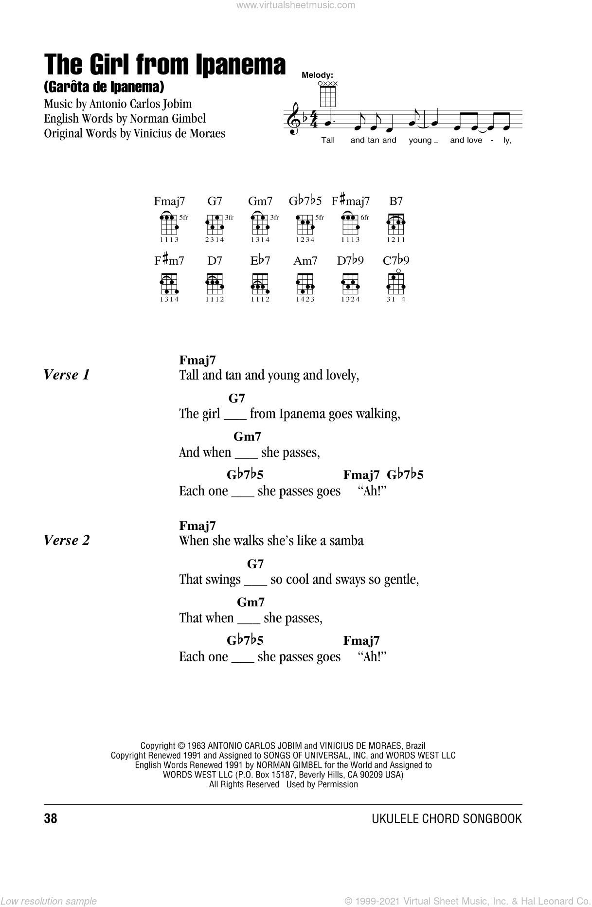 The Girl From Ipanema (GarA'ta De Ipanema) sheet music for ukulele (chords) by Antonio Carlos Jobim and Stan Getz & Astrud Gilberto, intermediate skill level
