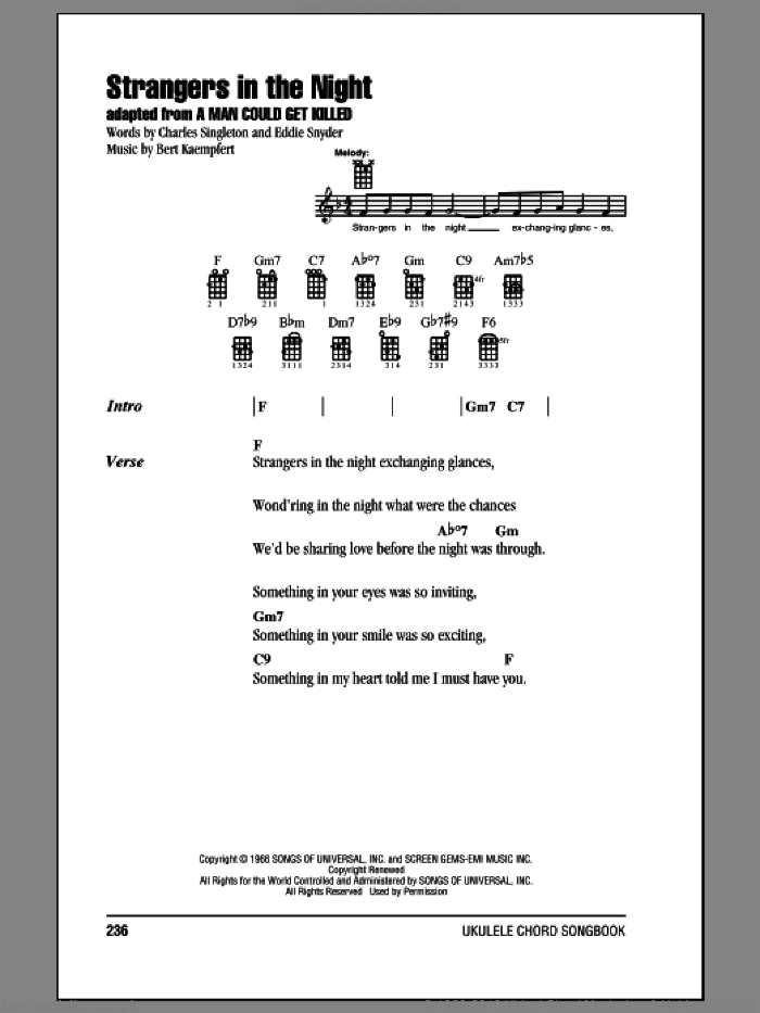 Strangers In The Night sheet music for ukulele (chords) by Frank Sinatra, intermediate skill level