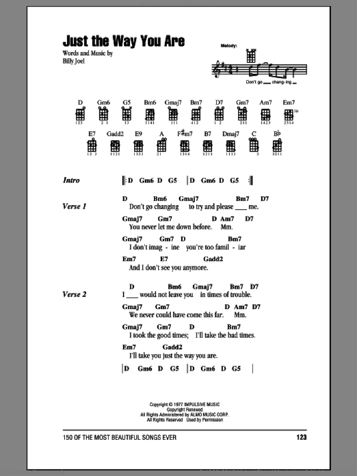 Just The Way You Are sheet music for ukulele (chords) by Billy Joel, intermediate. Score Image Preview.