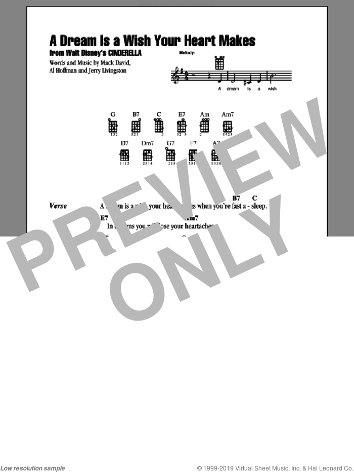 A Dream Is A Wish Your Heart Makes sheet music for ukulele (chords) by Ilene Woods, Al Hoffman, Jerry Livingston, Linda Ronstadt and Mack David, intermediate. Score Image Preview.
