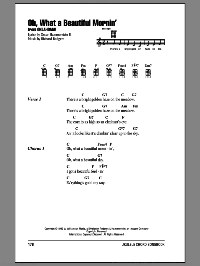 Oh, What A Beautiful Mornin' sheet music for ukulele (chords) by Rodgers & Hammerstein, Oscar II Hammerstein and Richard Rodgers, intermediate skill level