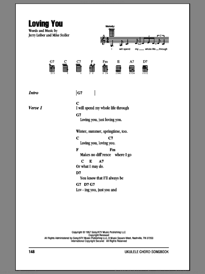 Loving You sheet music for ukulele (chords) by Mike Stoller, Elvis Presley and Jerry Leiber. Score Image Preview.