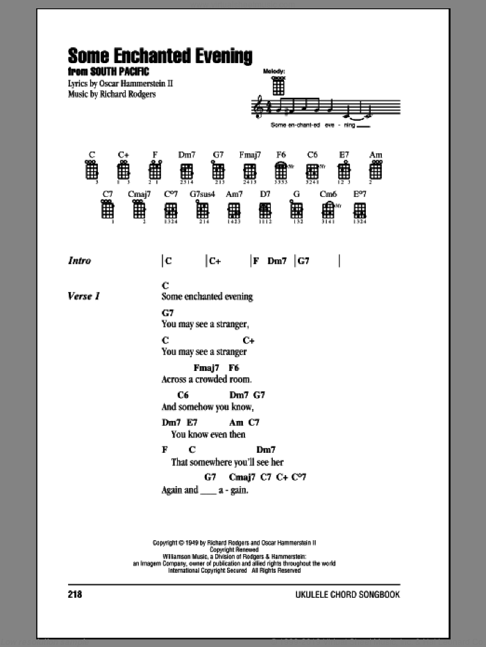Some Enchanted Evening sheet music for ukulele (chords) by Rodgers & Hammerstein, Oscar II Hammerstein and Richard Rodgers, intermediate skill level