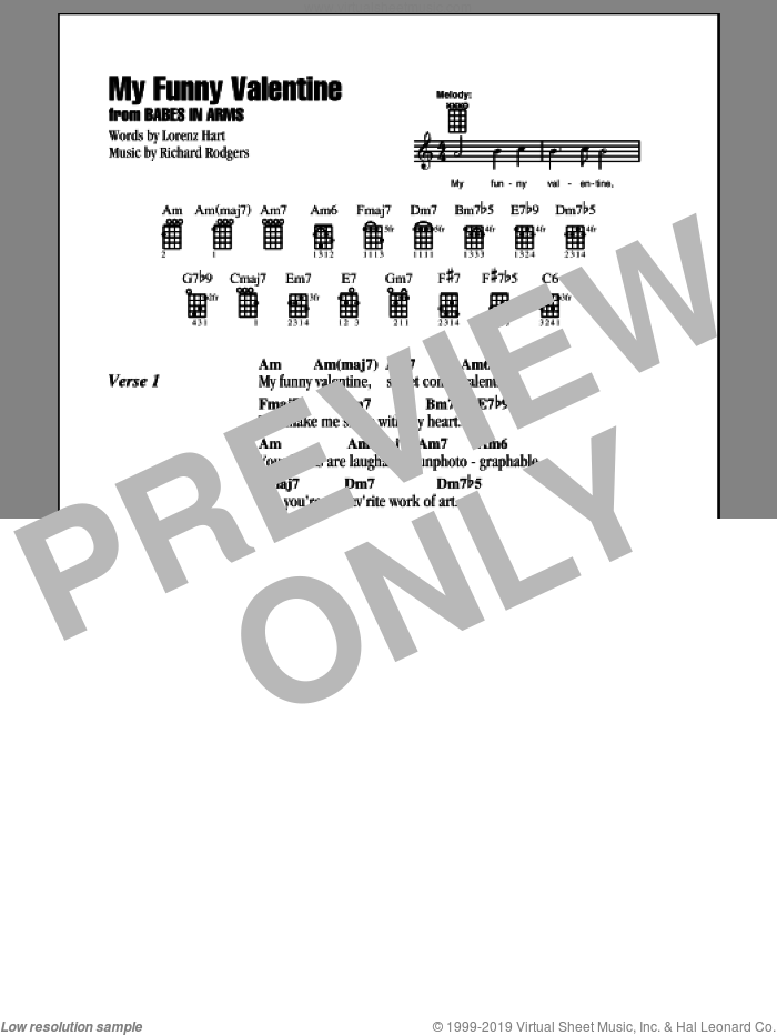 My Funny Valentine sheet music for ukulele (chords) by Rodgers & Hart, Lorenz Hart and Richard Rodgers. Score Image Preview.