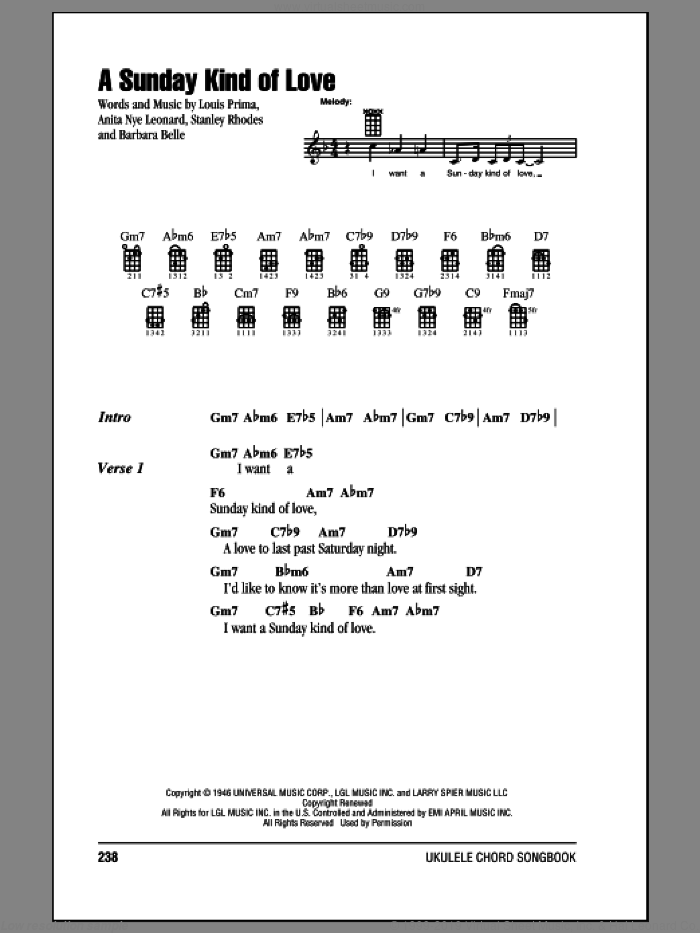 A Sunday Kind Of Love sheet music for ukulele (chords) by Reba McEntire, intermediate skill level