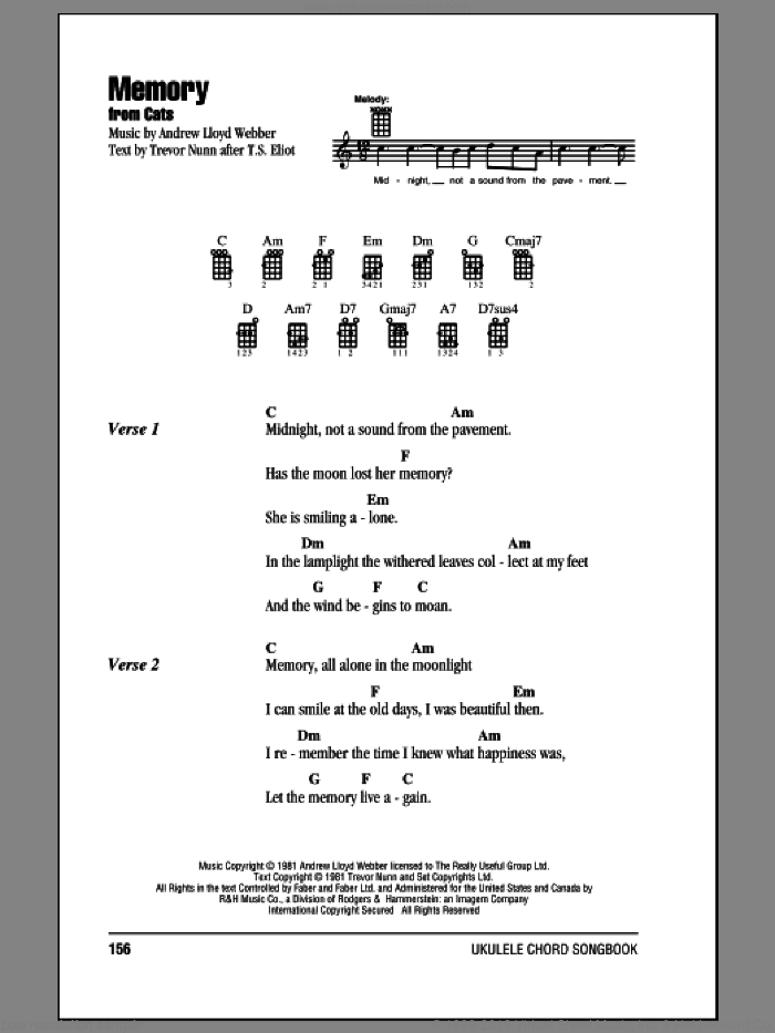 Memory sheet music for ukulele (chords) by Andrew Lloyd Webber and Barbra Streisand, intermediate skill level
